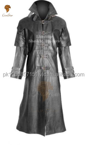 Lionstar Gothic Steampunk Victorian Vampire Real Leather Long Coat