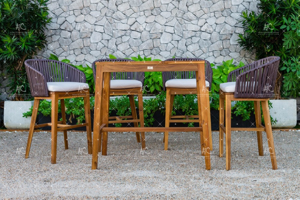 RABR-099 Hot summer trendy 2016 Wicker PE Rattan Bar set 2 chairs and Acacia Wooden table for Outdoor Furniture