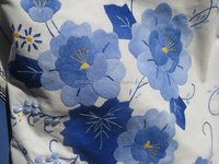 Young Indian People choice Decorative Vintage Linen Table Cover - Hand Embroidered - Hand Sewn - Blue Denim on Cream Linen.