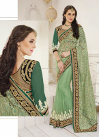 Saree blouse materials\saree design patterns\awsome pista green net saree design