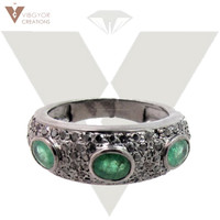 Wholesale Emerald Ring 925 Sterling Silver Ring Jewellry Best New Design Emerald Gemstone Handmade Ring
