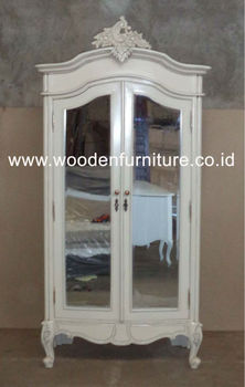 French Style Armoire Rococo Wardrobe Two Doors With Mirror Antique Reproduction Bedroom European Style Home Furniture
