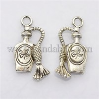 Tibetan Style Liquor Bottle Pendants, Antique Silver, Lead Free; 20x10x4mm, Hole: 2mm
