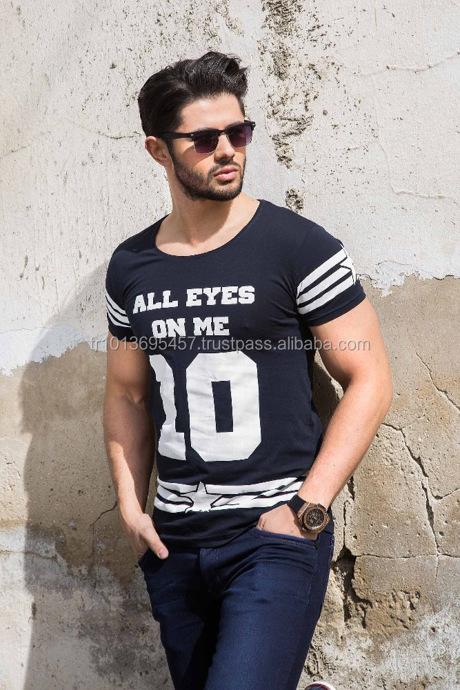 2015 new design fashion style mens V neck t- shirt made in Turkey Printing