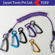 Self lock Spring coil tool lanyard fishing rod safety lanyard with hook