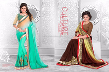 Season Special Designer Embroidery Green Saree With designer Blouse