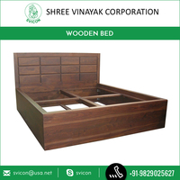Brown Wooden Frame Latest Design Double Bed by Top Selling Brand Company