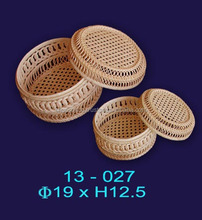 Round Painted bread bamboo decorative storage bamboo rice box with code 13-207A