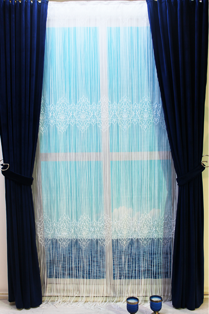 %100 Polyester Luxury Knitted Panel String Curtain 300x280 cm