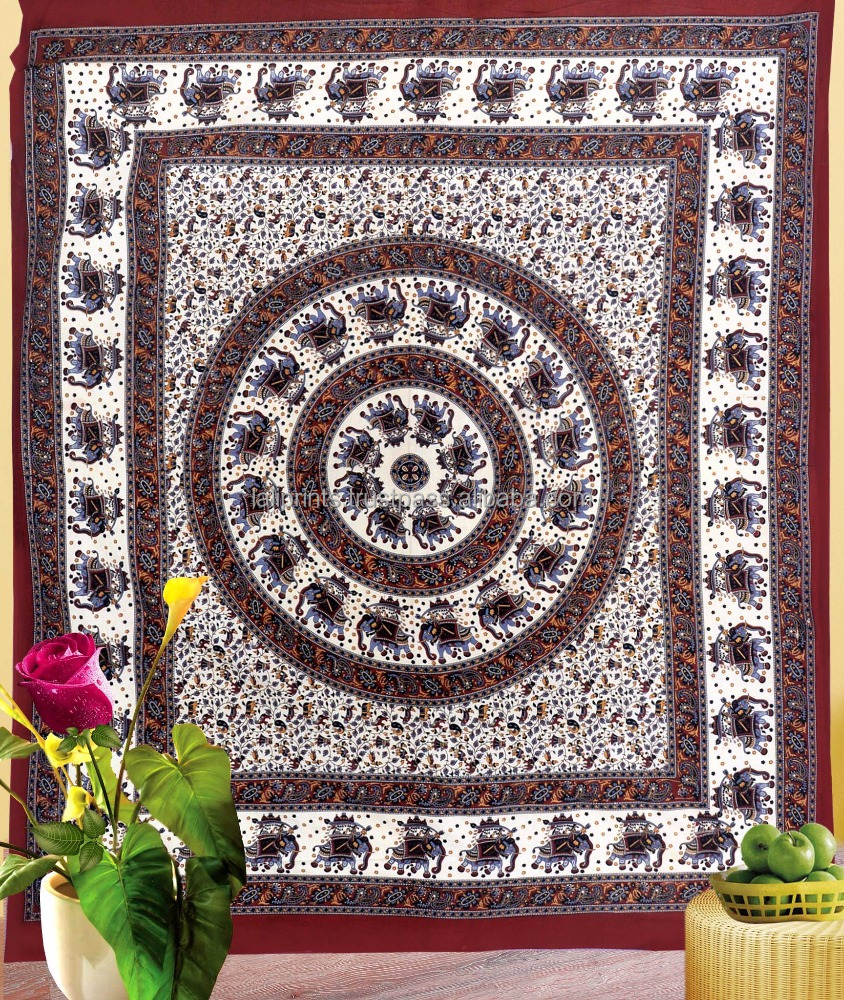 Hippie elephant tapestry dorm decor queen size tapestry wall hanging mandala bohemian wholesale indian printed tapestries