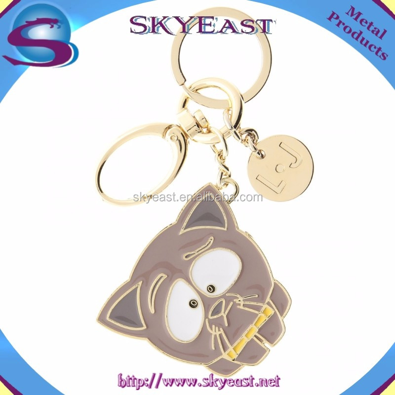 New Fashion Enamel Metal Tag with High Shiny Keychain Ring