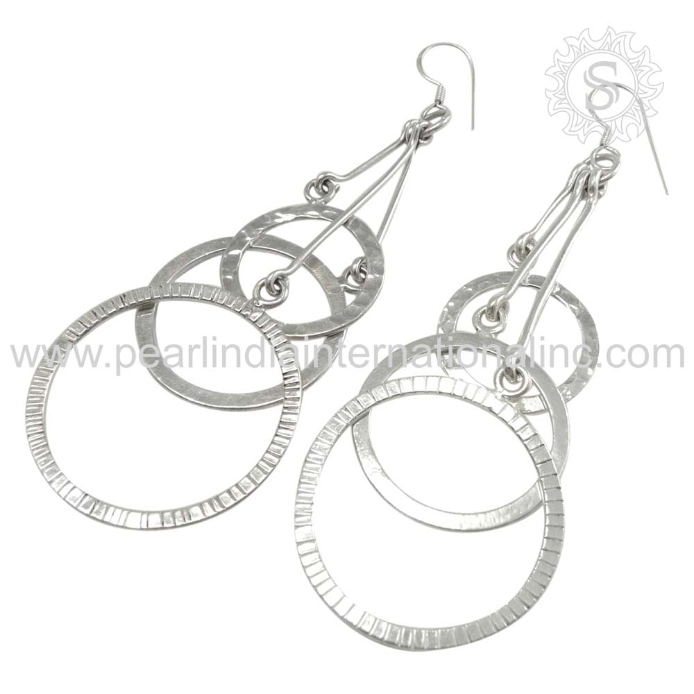 Stately 925 Sterling Silver Earring Women Fashion Jewelry India Exotic Wholesale Jewelry Handmade Silver Jewelry