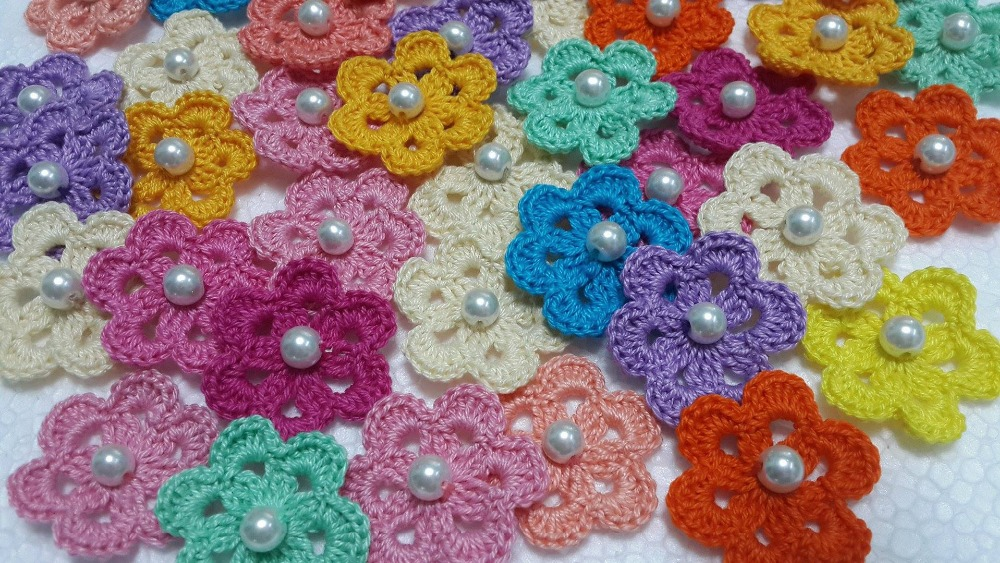 Assorted Crochet Flowers With Pearl (Multipurpose) --->> $22/hundred pieces