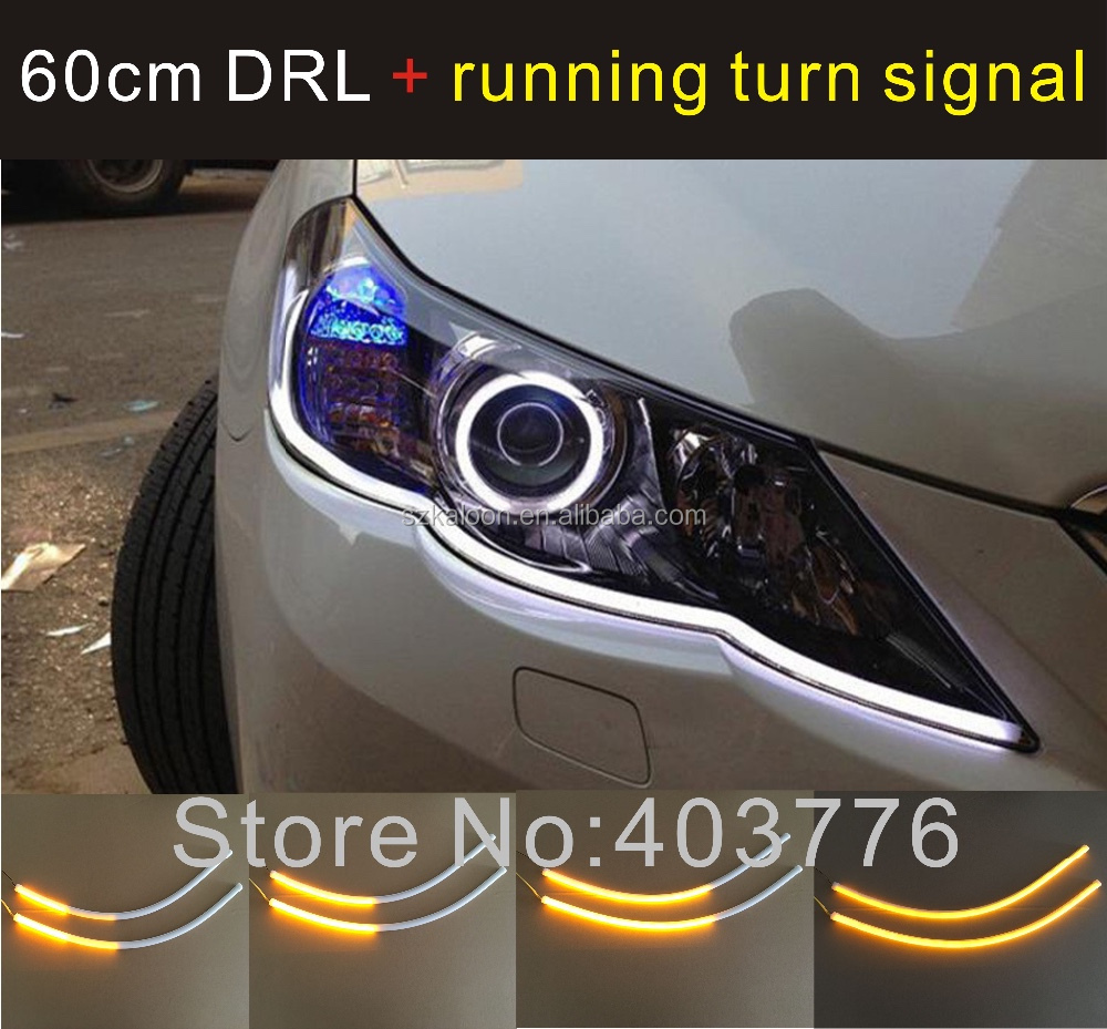 universal 2x45cm auto flexible DRL LED daytime running light with flow signal