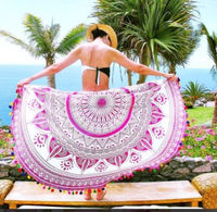 "72"" Indian Mandala Hippie Round Roundie Tapestries Hippy Boho Gypsy Cotton Round Beach Throw Yoga Mat Color Pom Pom"