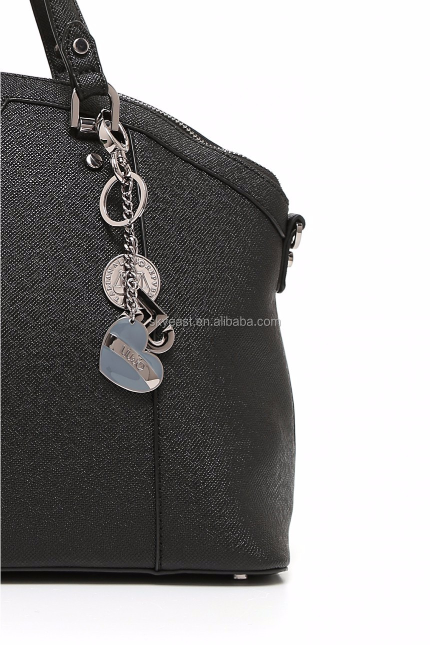 Special Style Heart Shape Metal Tag with Shine Keychain Ring