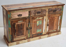 reclaimed old color wood sideboard