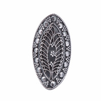 Tribal Silver Marquise Shape Leaf Design Ring Fashion Jewelry Gift For Her