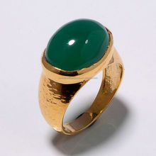 925 Sterling Silver Green Onyx Gemstone Rings Gold vermeil Hammerd Finish