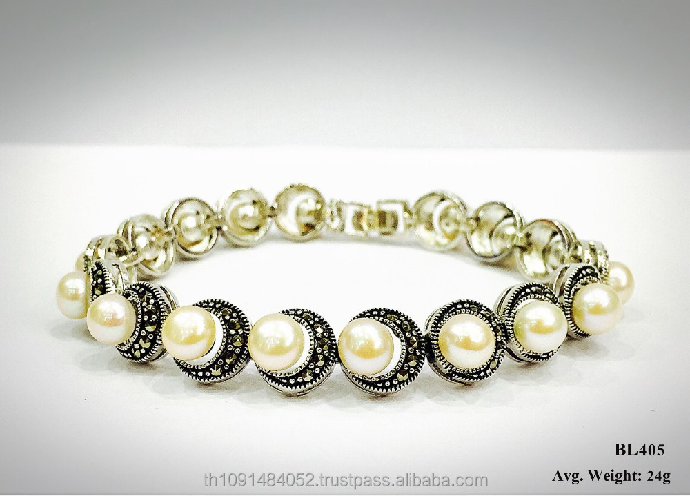 Elegant fashion jewelry 925 sterling silver bracelet with Swiss marcasite and Pearl
