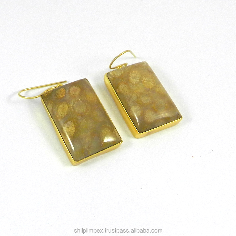 Perrine Earring - Fossil Coral - Gemstone Bezel earring - 18k gold plated - Dangle earring - Fashion Jewelry - SIER0924