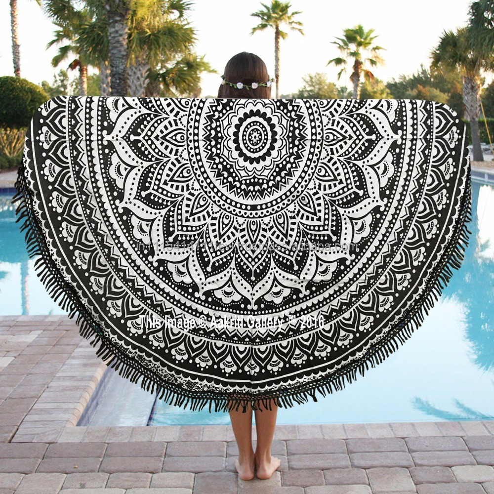 "Handmade Round Black Color Indian Ombre Mandala Tassel Tapestry Beach Throw Yoga Mat 72"" Boho Wholesale Round Mandala"