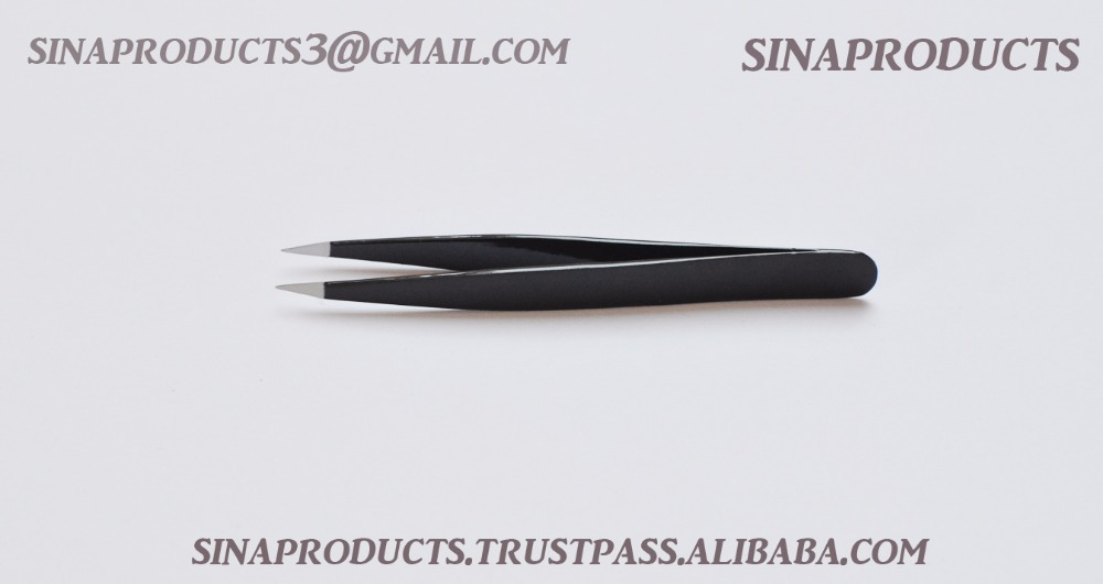 PROFESSIONAL BEAUTY EYEBROW SHARP POINTED,EYELASHES EXTENSION TWEEZERS Black