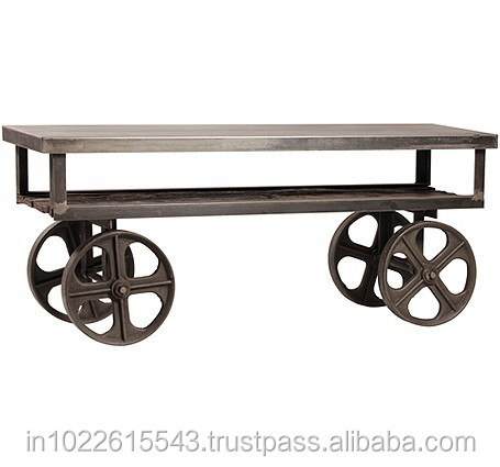 Industrial Furniture TV Units with Wheels Console Table