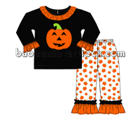 Adorable Halloween knit clothing set for little girl pumpkin appliqued knit clothing