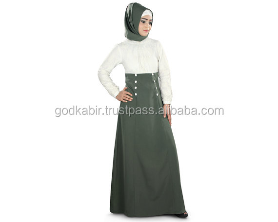 Traditional Burqa | Ethnic Islamic Clothing | Casual Wear Dress | Ladies Long Maxi /White and grey colour long abaya