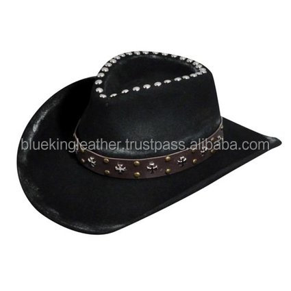 Village HAND MADE LEATHER HATS COWBOYS WESTERN LOOK TOP QUALITY