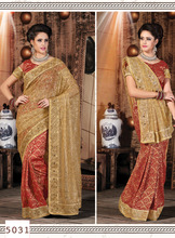 Half and Half pure silk saree in chiku & red Colour