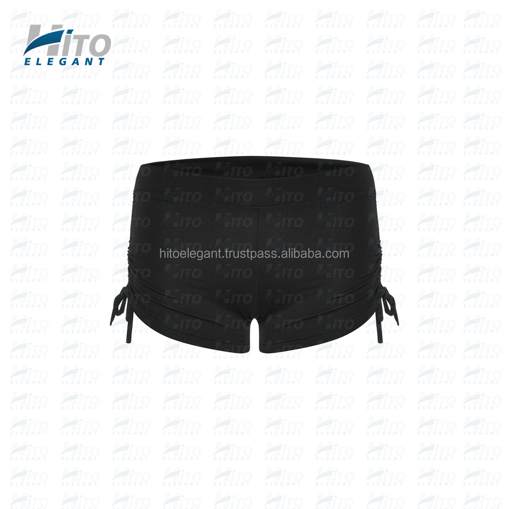 Hito Elegant High Quality Plain Black Side String Sports Shorts, Fitness & Yoga and Activewear For Sexy Women HE-SS-0004