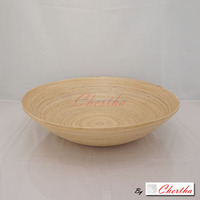 Coiled Bamboo Wood Fruit Vegetable Bowl