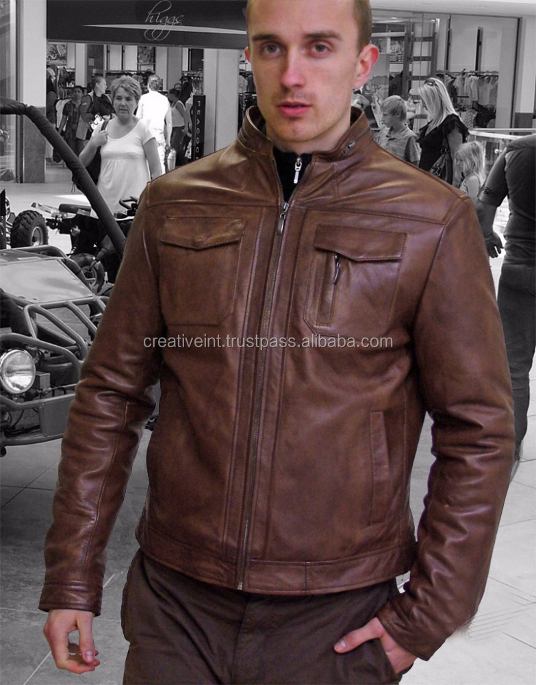 MEN HIGH QUALITY BROWN NAPPA BUFFALO LEATHER JACKET IN PAKISTAN SIALKOT/pu leather jacket