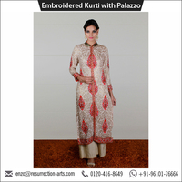 Top Selling Designer Georgette Embroidered Kurti with Plazo for Sale