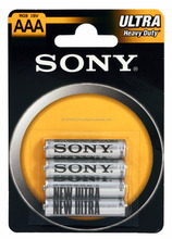 Sony Ultra R03 , AAA size Zinc Chloride battery in Blister of 4