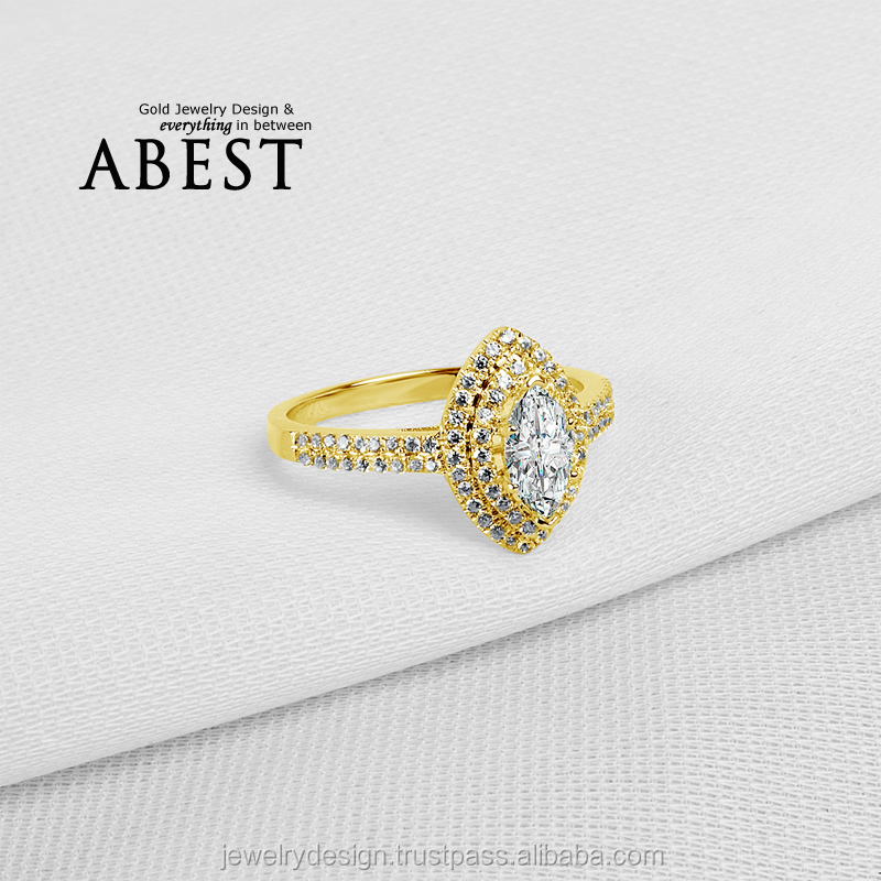 Marquise Shape Double Halo 10K Yellow Gold Ring Sona Simulated Diamond Jewelry Ring New Wedding Engagement Ring For Women Gift