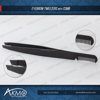 Matte Black Slanted Eyebrow Tweezers with Comb/ Eyebrow Tweezers with Smart Packaging Solutions