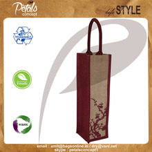 Jute wine bag with padded rope handle for one bottle