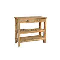 teak console table with rack and drawers