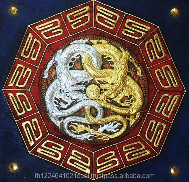 3D Diamong Gold and Silver Dragon Resin Handpainted Acrylic Thai Painting on Canvas with Wood Frame