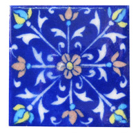 Indian Vintage Jaipur Blue Pottery Tiles For Home Decor Purposes