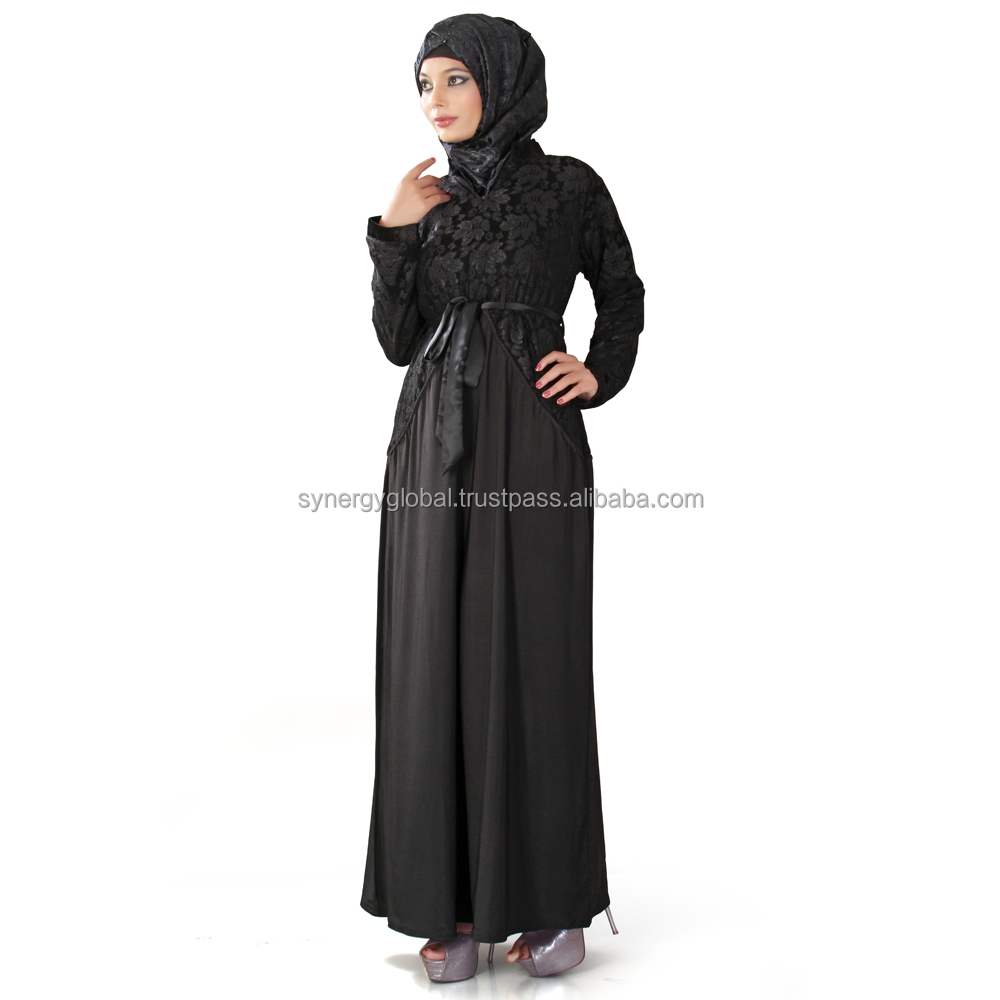 Universal Religious clothing Muslim women lace sleeve abaya dress with long sleeve