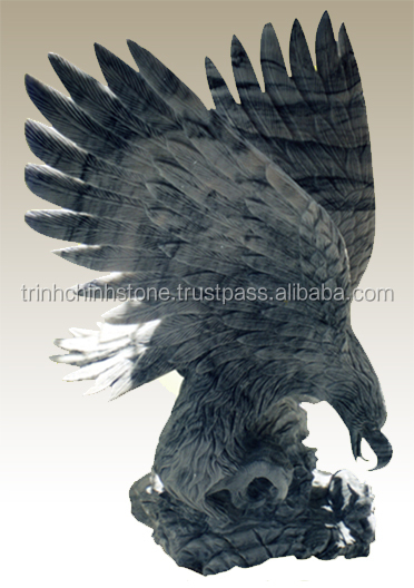 Black marble eagle statue hand carved sculpture from Vietnam