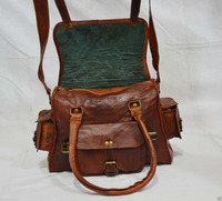 Indian Handmade Vintage Real Leather Shoulder Messenger Bag Ladies Briefcase Laptop Bag