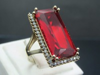 925 Sterling Silver Turkish Authentic Ruby Zircon Women's Ring Jewelry