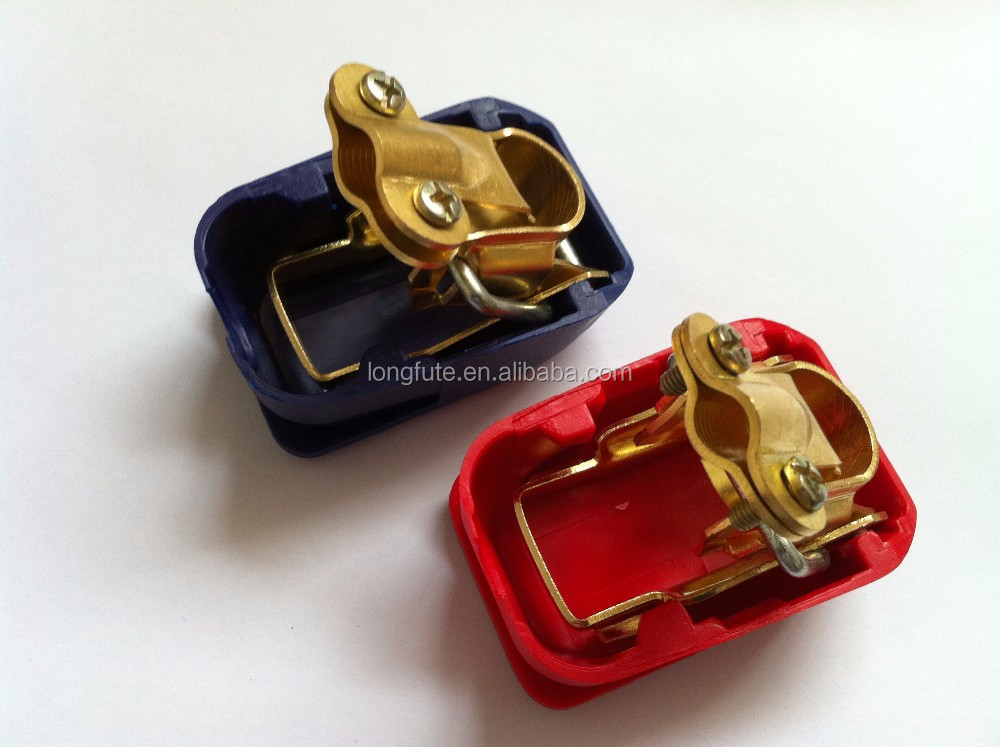 2x Solid brass car battery terminal connector With Blue Red Plastic Cover