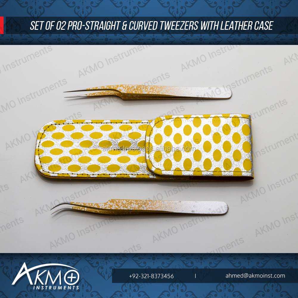 Yellow & Silver Matching Eyelash Extension Tweezers In Magnetic Case / Customized Designed Lash Tweezers Cases from AKMO