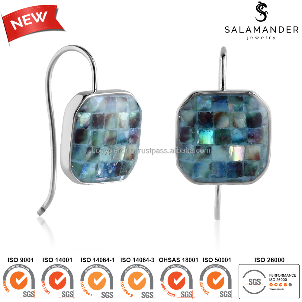 Synthetic Mother Of Pearl Women Earrings Surgical Steel Jewelry